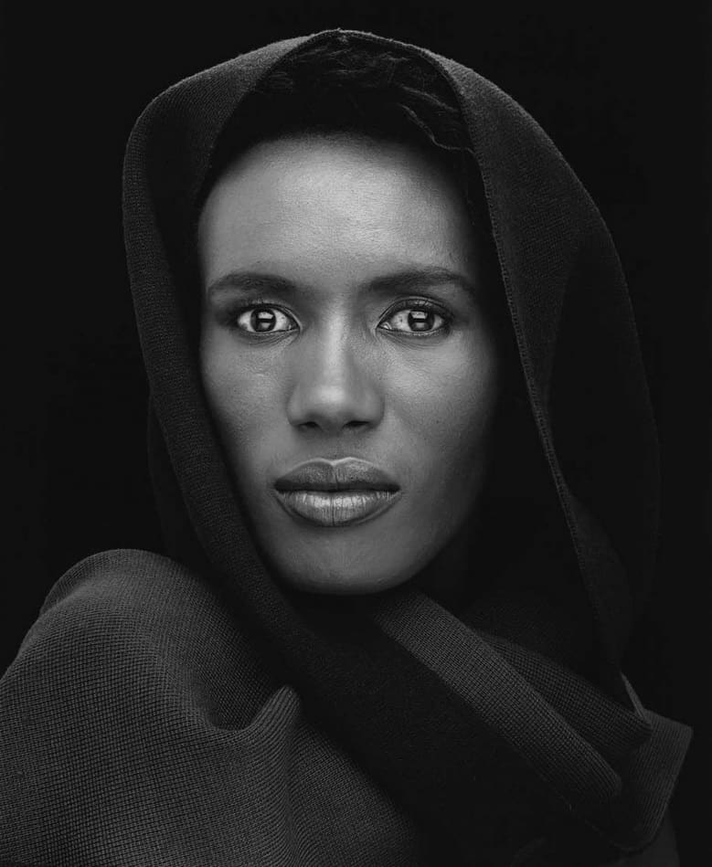 Black and white, Portrait of Grace Jones by Robert Mapplethorpe