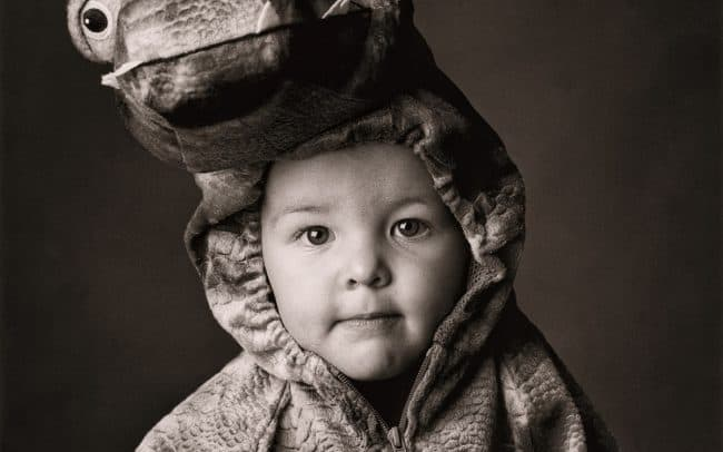 Black and white, Portrait of Young Boy in Dragon Costume