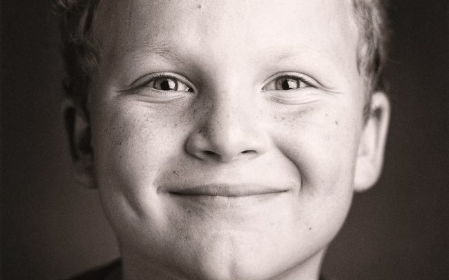 Black and white, Portrait of Smiling Boy